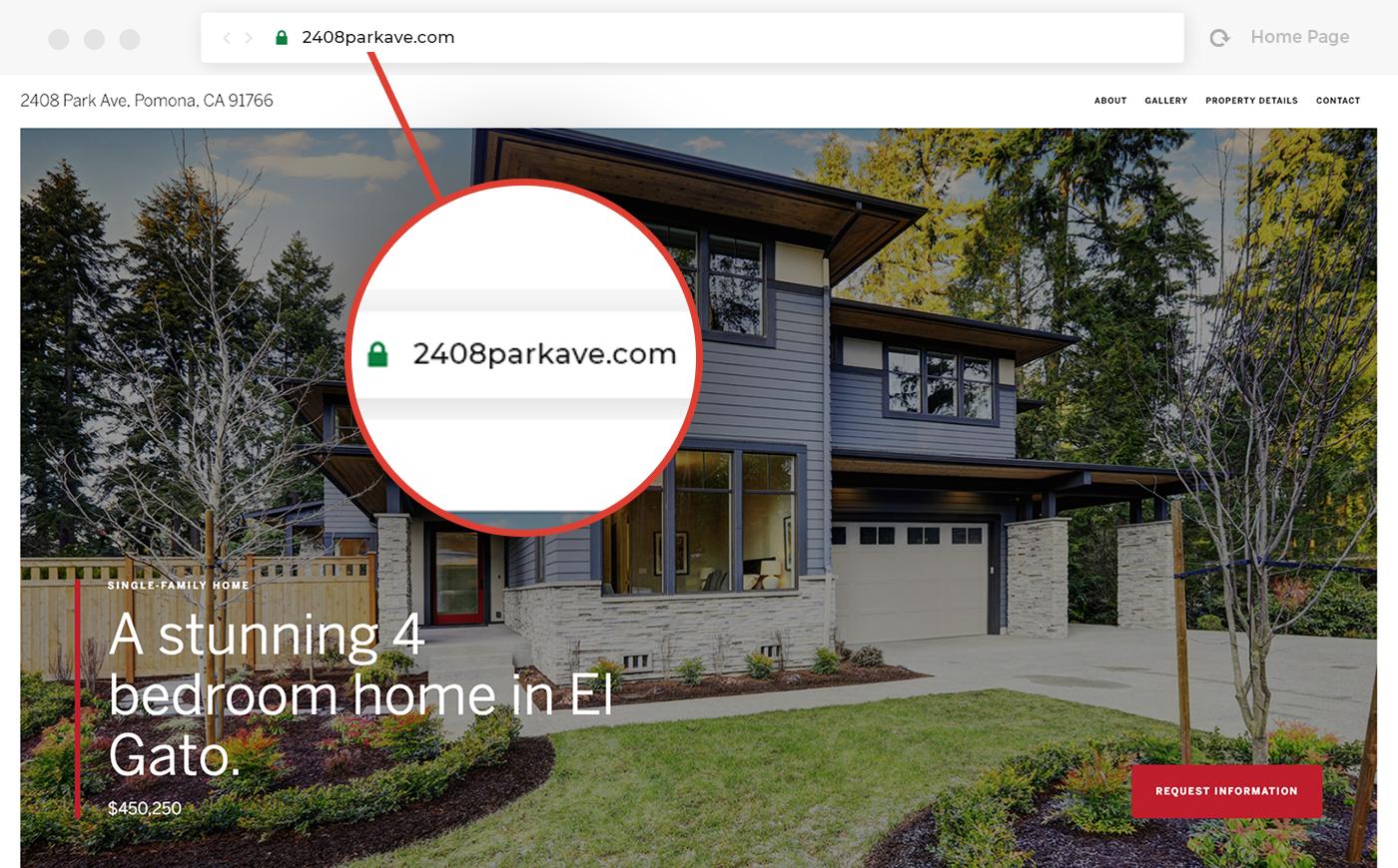 Custom domain to better market your listing